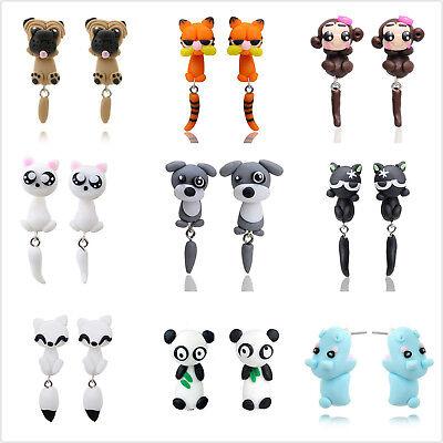 - New Creative Cute Animal Dinosaur Cat Pottery Earrings Piercing Ear Stud Earring