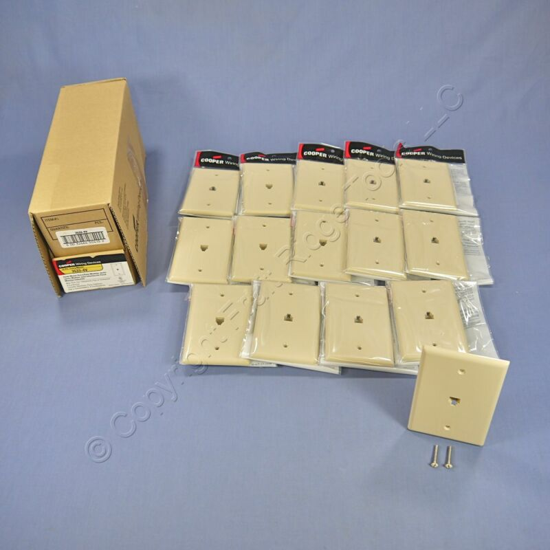 15 Cooper Ivory Mid-Size Flush Mount 4-Wire Telephone Jack Wallplates 3533-4V