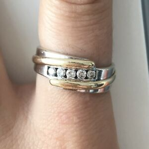 Men's authentic diamond, yellow gold and white gold ring