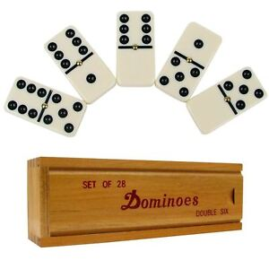 DOUBLE SIX PROFESSIONAL DOMINO TILES Dominoes Game Set With Wooden Case 28 PIECE
