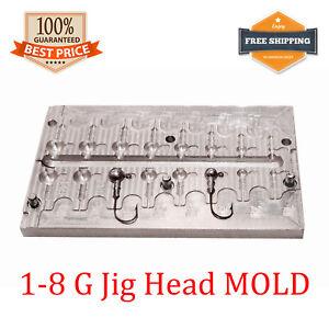 Fishing JigHead Mold Lead Jig Head Sinker Weights 8 cavity (1 - 8 G)