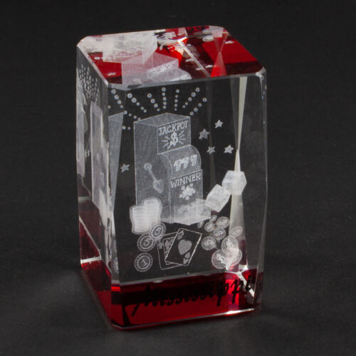"""Mississippi Slot Machine Casino Souvenir, Laser Etched 3"""" Crystal Hologram"""