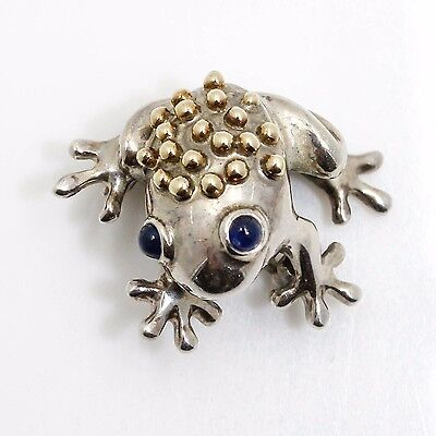 Authentic Tiffany & Co. Sterling Silver Frog Pin with Yellow Gold and Sapphires