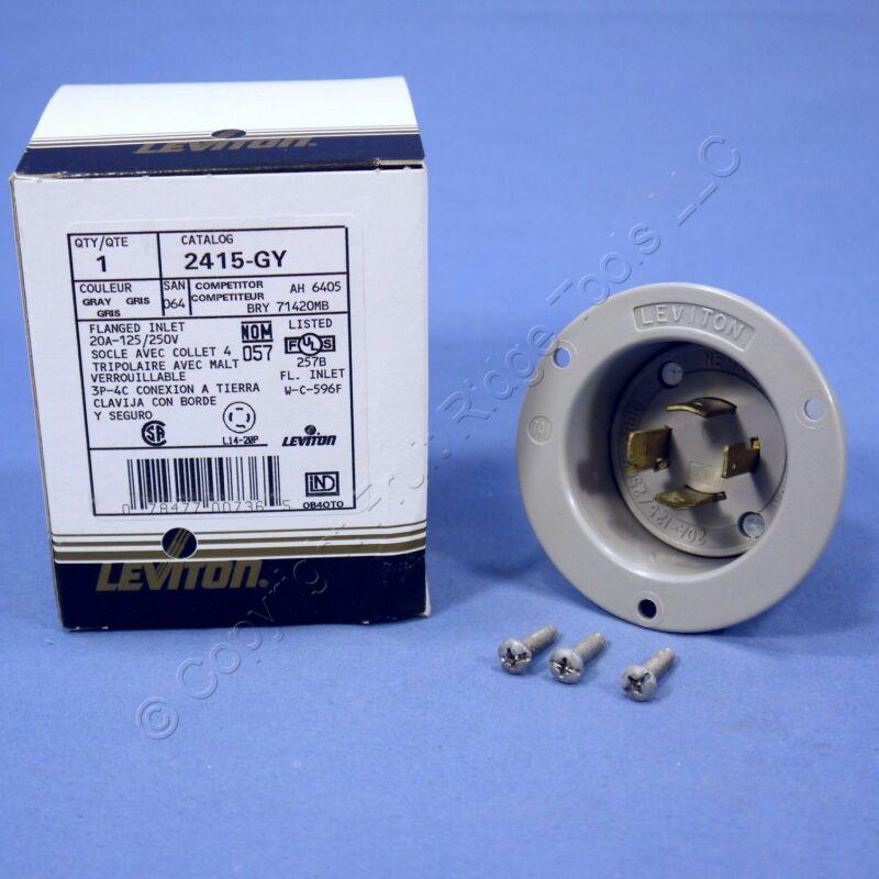 Leviton Gray L14-20P Locking Flanged Inlet Turn Twist Plug 20A 125/250V 2415-GY