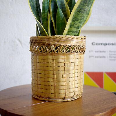 Vintage Mid Century Bamboo Wicker Rattan Plant Pot Planter Boho Tiki Retro