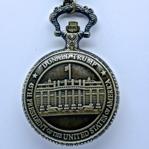 """Donald Trump Engraved Commemorative Men""""s Pocket Watch With Presidential Seal"""