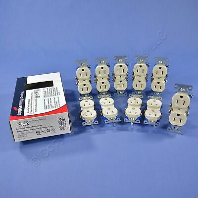 Lot of 10 Cooper 1107V 1107V-BOX Decorator Receptacle 15A 125V 2P 5-15R Ivory