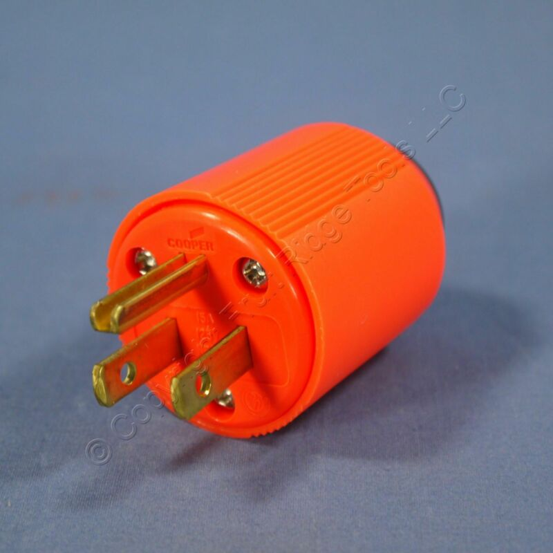 Cooper High Visibility Orange Straight Blade Plug NEMA 5-15P 15A 125V BP3867-4RN
