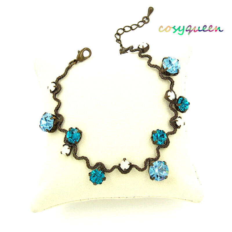 Swarovski Elements Crystal New Aquamarine Blue Bronze Wavy Bracelet Women Gift