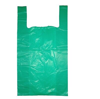 1000 LARGE GREEN  VEST STYLE PLASTIC CARRIER BAGS 11