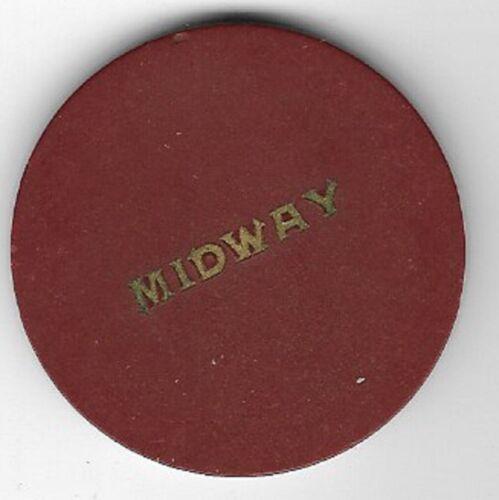 Midway Vintage Casino Poker Chip Boulder Highway Pittman Nevada Rare 1940