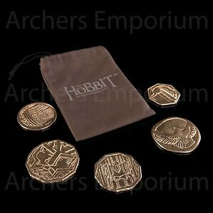 Hobbit-Desolation-of-Smaug-Smaugs-Treasure-Coins-in-Pouch-Weta-LotR-New