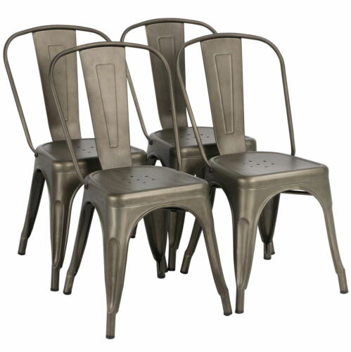 Iron Metal Dining Chair Stackable Side Chairs Bar Chairs wit