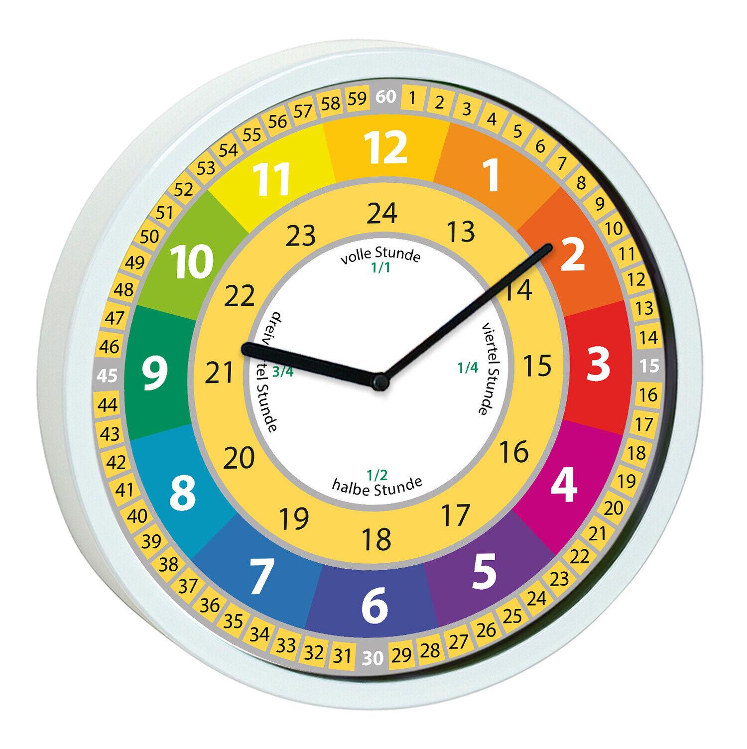 Wanduhr Kinderzimmer Lernuhr Kinder Uhr Mädchen bunt Uhrzeit lernen kein Ticken