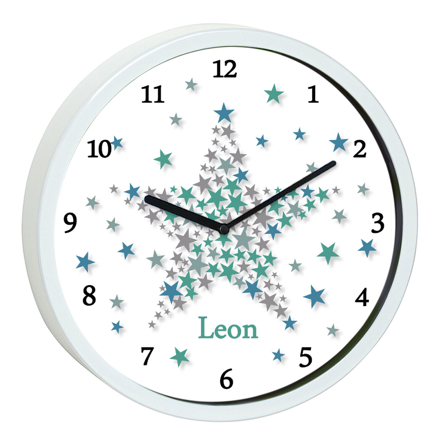 Wanduhr Kinder Sterne blau Kinderzimmer Uhr weiß Wunschnamen Stern kein Ticken