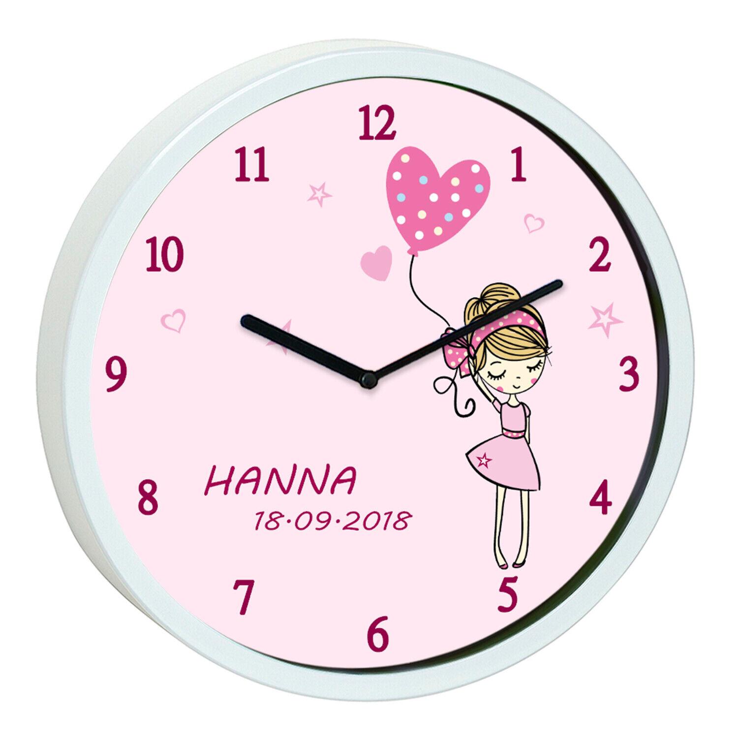 Kinder Wanduhr Ballon Rosa Geburtsdatum Mädchen Kinderzimmer Uhr Kinderuhr leise