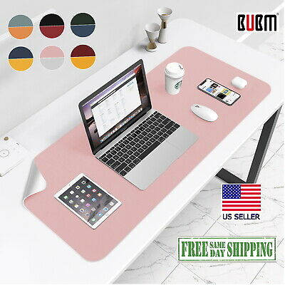 Leather Pink Silver Desk Mat Large Bubm Pu Mouse Pad 32x16 Edge Wear Spill Proof
