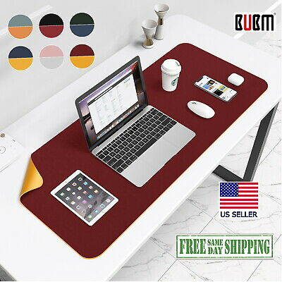 Leather Red Yellow Desk Mat Large Bubm Pu Mouse Pad 32x16 Edge Wear Spill Proof