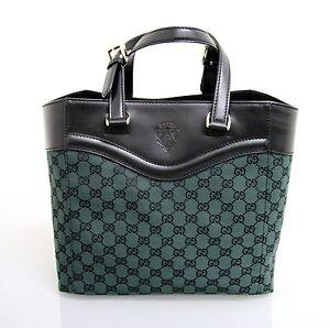 New-Authentic-Gucci-GG-Canvas-Leather-Tote-Bag-Handbag-w-Hysteria-Green