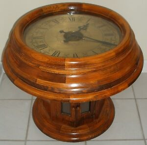 Vintage antique seisekowa coffee end table gallery clock round oak wood large ebay Coffee table with clock