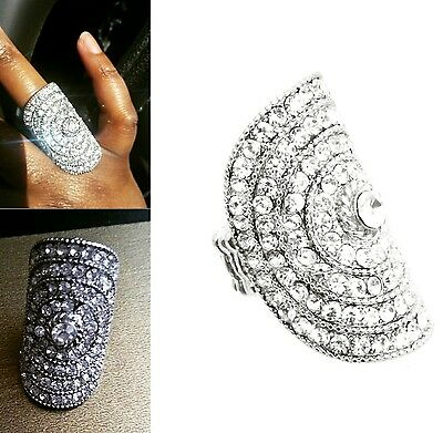 Large Bling Silver Crystal Oval Ring