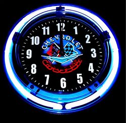 CORVETTE NEON LOGO BLUE NEON CLOCK - NEW!