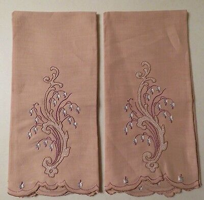 Linen Towels Madeira Guest Hand Towel Embroidered Vintage Set of 2