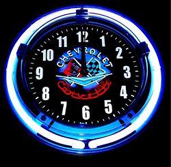 NEON CORVETTE LOGO - 11 Blue Neon Wall Clock