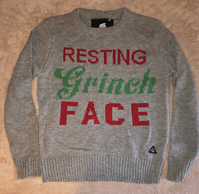 American Stitch Resting Grinch Face Ugly Christmas Sweater Medium NWT
