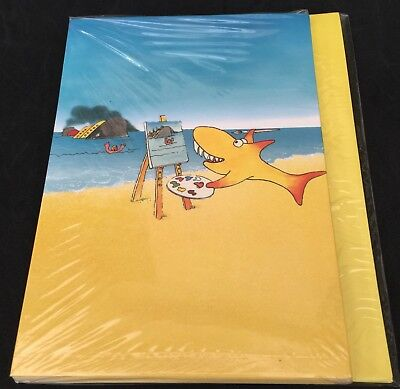 Pack of 6 Shark On The Beach Greetings Cards & Envelopes - Blank For Own Message