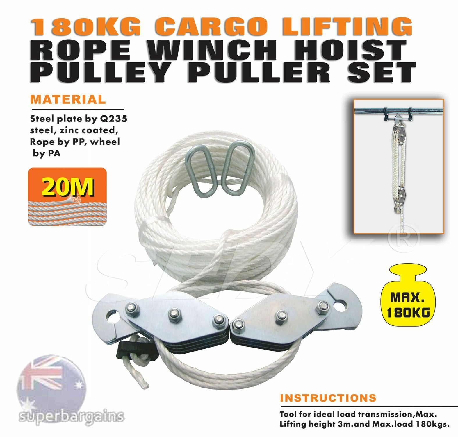 Rope Pulley Drive : Kg cargo lifting rope winch hoist pulley puller set
