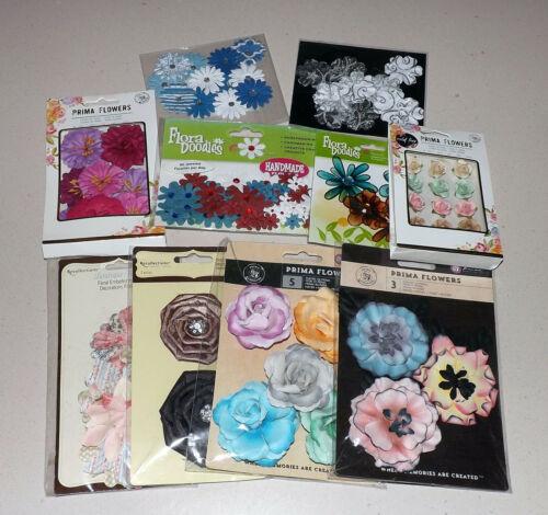 Lot of Flower Scrapbook Embellishments - Prima, Petaloo, Recollections