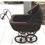 Victorian Vintage Ornate Baby Doll Wicker Carriage Stroller Buggy Carrier
