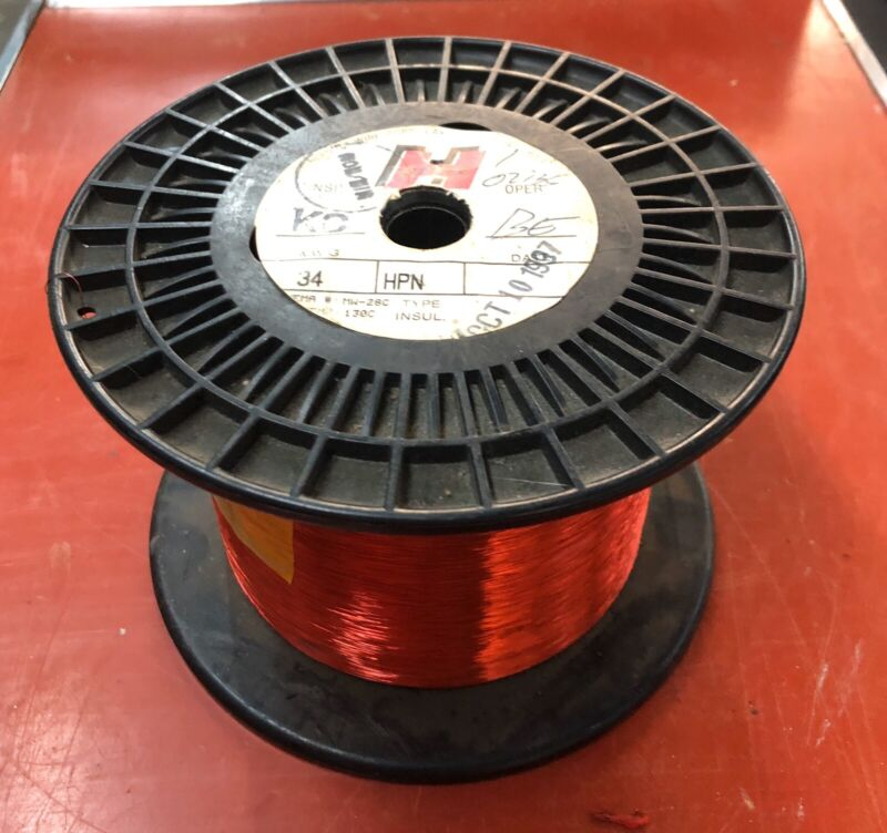 34 AWG Spool Copper Magnet Wire 5 lbs NOS Horning Wire Corp, IL