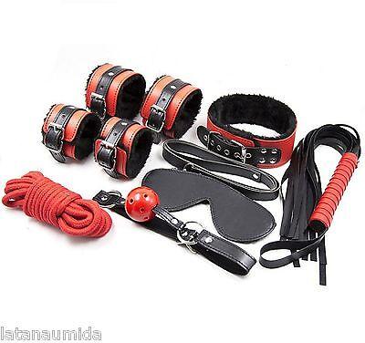 kit 8 pz toy rosso e nero set frustino sexto frusta guinzaglio