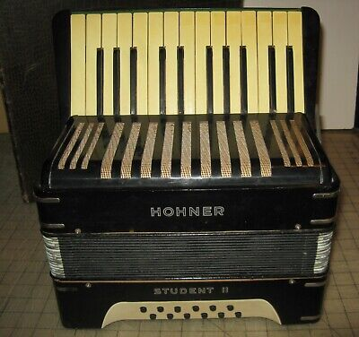 Vintage HOHNER STUDENT II 12-Bass Black Accordion - Accordian - Plays Great!