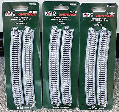 LOT of 3 - N Scale KATO UNITRACK 20-150 Curved Track R718-15* 4 Pieces per Pack
