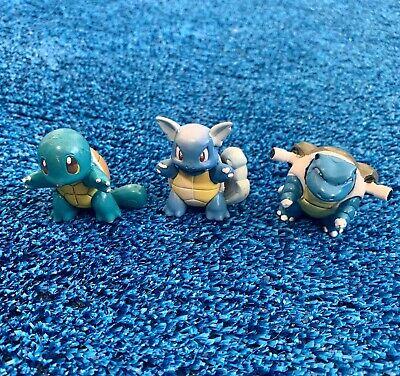 Pokemon SQUIRTLE Wartortle BLASTOISE - Nintendo TOMY Mini Figure Toy Lot VINTAGE