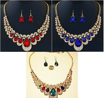 Teardrop Necklace And Earring Set - Beautiful Gold-tone Rhinestone Teardrop Necklace and Earring Set- Choose Color