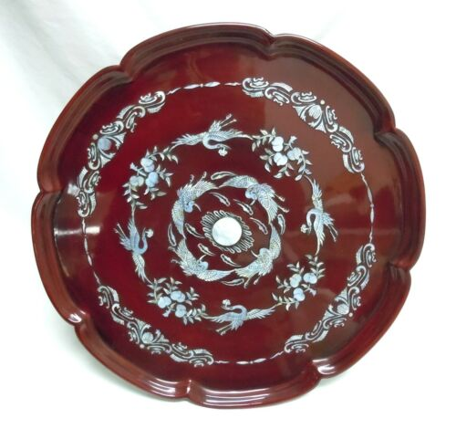 Large Vintage Korean Serving Tray Inlaid Mother of Pearl, Heavenly Crane Design