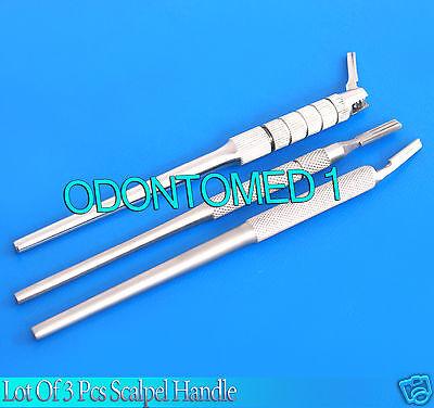 Lot Of 3-dental Instruments Scalpel Handle Adjustableangledsurgery Instrument
