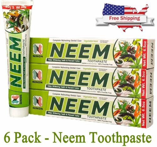 Neem Toothpaste 6 Pack Herbal Active Formula 100% Fluoride Free Bulk Lot
