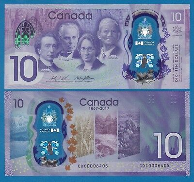 CANADA 10 Dollars Commemorative 2017 UNC Polymer Low Shipping! Combine FREE! New