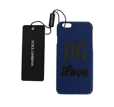 NEW $400 DOLCE & GABBANA Phone Case Blue Leather DG Love Embellished iPhone6
