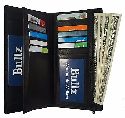 Genuine Leather Checkbook Cover Wallet Organizer with Credit Card Holder Black