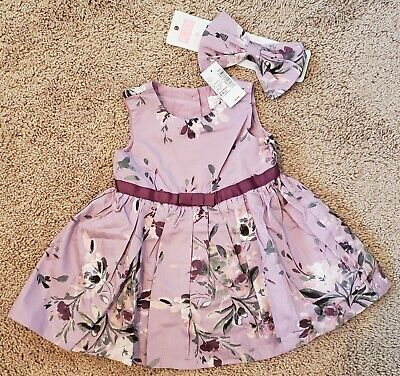 BABY GIRLS 6-9 MONTH CHILDRENS PLACE PURPLE FLORAL DRESS & HAIR BOW SET!