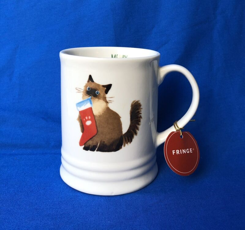 SIAMESE Christmas Cat Coffee Mug  Kitty With Stocking By Fringe