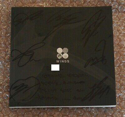 """BTS Autographed Signed 2nd Album WINGS """"W"""" Blood Sweat & Tears CD PROMO Message"""