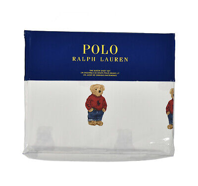 Ralph Lauren Polo White Cotton Teddy Bear 4 PC Queen Sheet Set New 4' White Teddy Bear