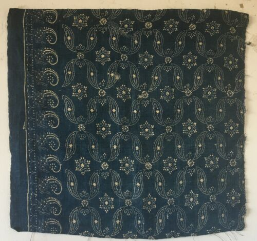 Beautiful Late 19th C. or Early Linen French Indigo Block Print (3192)